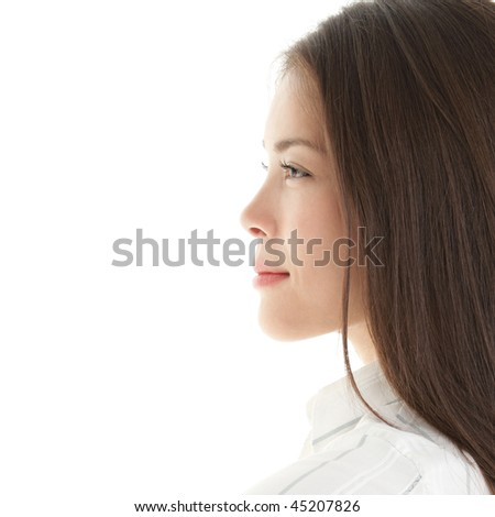 Profile woman. portrait of a beautiful young woman. Bright and isolated on white. - stock photo