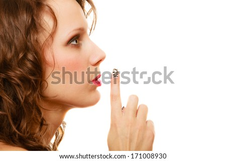 profile woman with silence hush sign gesture saying hush be quiet copy space isolated on white background - stock photo