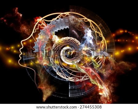 Profiles of Destiny series. Arrangement of astrology symbols, human profile lines, circles and design elements on the subject of astrology,magic, witchcraft and fortune telling - stock photo