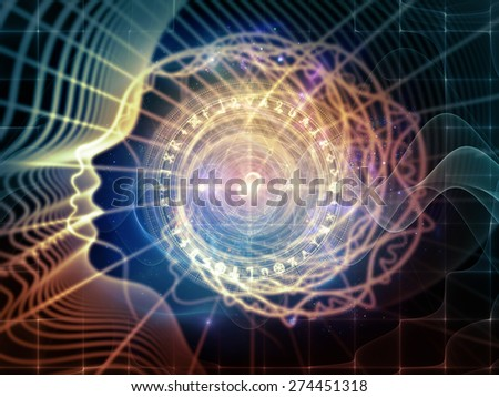 Profiles of Destiny series. Backdrop composed of astrology symbols, human profile lines and design elements and suitable for use in the projects on astrology,magic, witchcraft and fortune telling - stock photo
