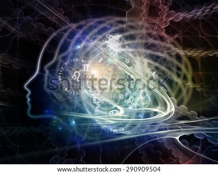 Profiles of Destiny series. Backdrop of  astrology symbols, human profile lines, circles and design elements to complement your design on the subject of astrology,magic, witchcraft and fortune telling - stock photo