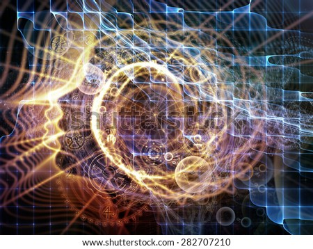 Profiles of Destiny series. Background composition of  astrology symbols, human profile lines, circles and design elements on the subject of astrology,magic, witchcraft and fortune telling - stock photo