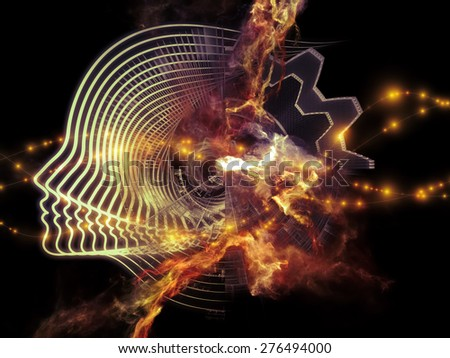 Profiles of Destiny series. Visually attractive backdrop made of astrology symbols, human profile lines, circles and design elements on astrology,magic, witchcraft and fortune telling - stock photo