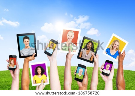Profiles of Multi-Ethnic People in Electronic Devices for Social Media - stock photo