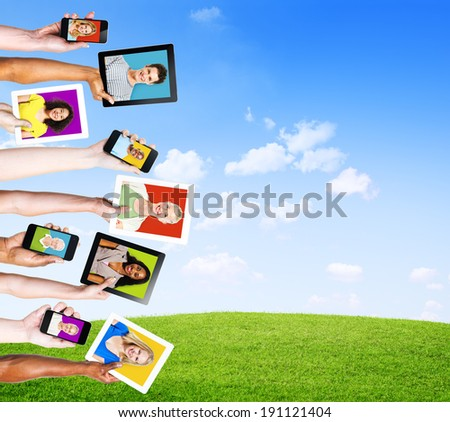 Profiles of Multi-Ethnic People in Electronic Devices for Social Media
