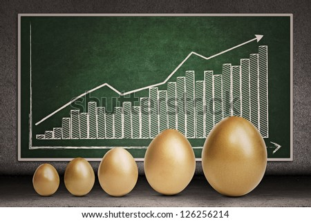 Profit bar chart and golden eggs on chalkboard - stock photo