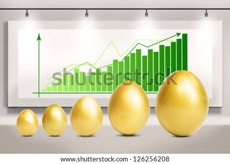 Profit bar chart with golden eggs standing in front of it - stock photo
