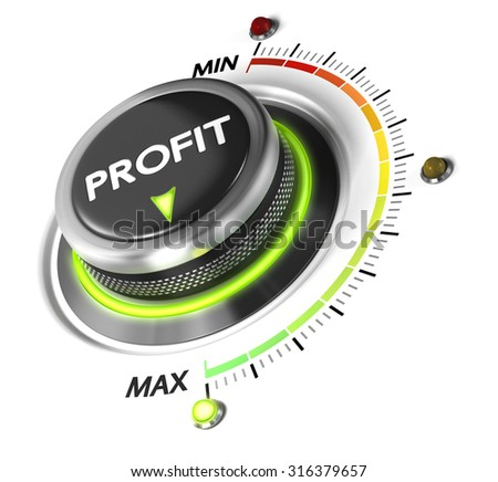 Profit button positioned on maximum, white background and green light. Finance concept illustration of profitability.