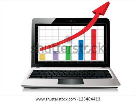 Profit concept, red arrow shows business growth chart isolated on a white background