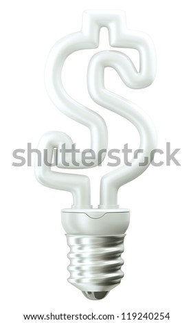 Profit: Dollar ccurrency symbol light bulb isolated over white background
