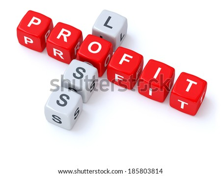 Profit loss crosswords - stock photo