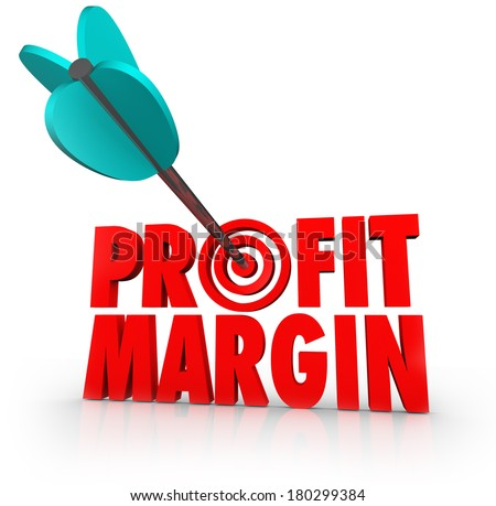 Profit Margin Arrow Target Aiming for More Earnings Money Making - stock photo