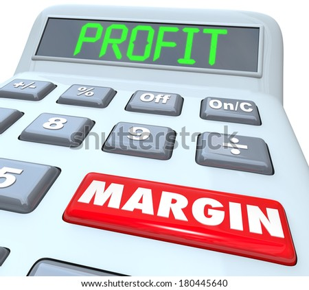 Profit Margin Words Calculator Increase Net Earnings - stock photo