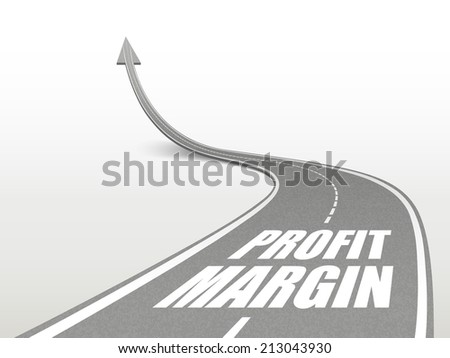 profit margin words on highway road going up as an arrow - stock photo