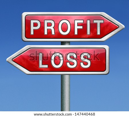 profit or loss win or loose financial on stock market economy earning or loosing money trough the risk of a risky investment - stock photo