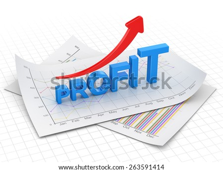 Profit text chart and arrow moving up on paper. 3d render and computer generated image.
