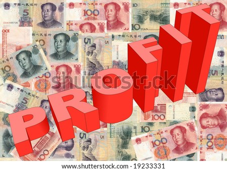 Profit text graph on Chinese Yuan illustration - stock photo