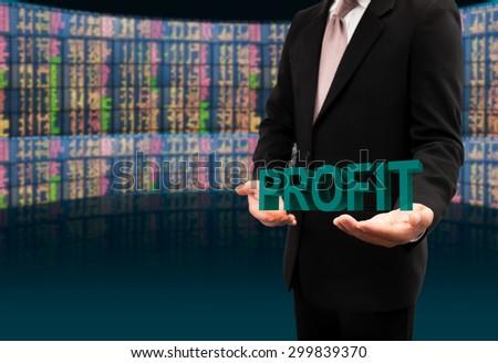 Profit text on hands businessman. - stock photo