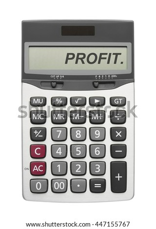 Profit text on silver calculator display in white background for your business concept or pattern, isolated included clipping path