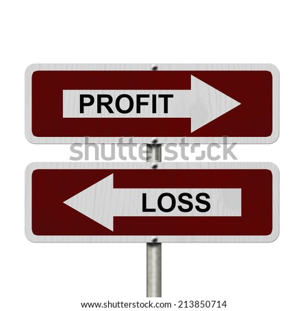 Profit versus Loss, Red and white street signs with words Profit and Loss isolated on white