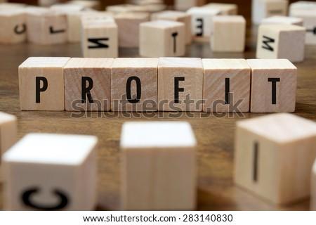 profit word written on wood block - stock photo