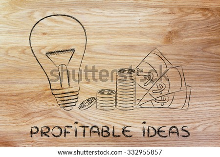 profitable business ideas: lightbulb next to coin stacks and cash