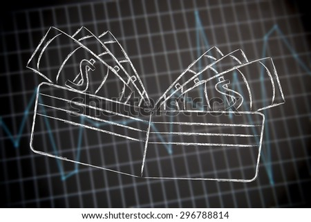 profits and earning: wallet on financial reports background - stock photo