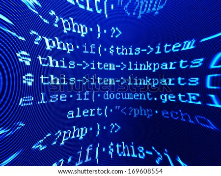 Program code on a monitor. Pincushion lens use. - stock photo
