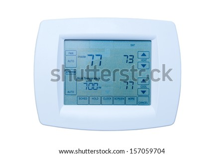 Programmable digital thermostat - stock photo