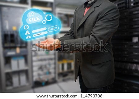 Programmer and file system to log-in in data center room - stock photo
