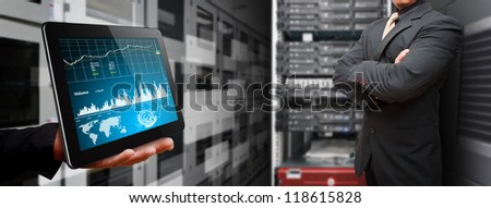 Programmer and Graph data report for monitor the system - stock photo