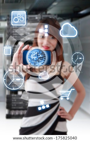 Programmer and icon control the server : Elements of this image furnished by NASA  - stock photo