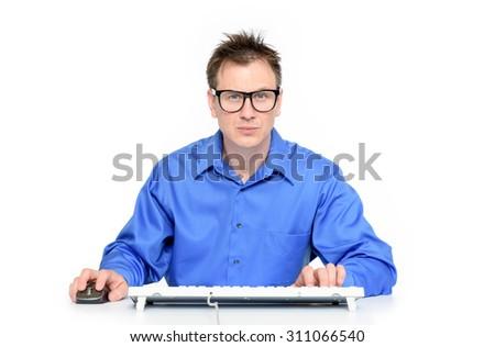 Programmer at work on white background - stock photo