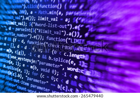 Programmer developer screen, web app coding. Script on computer. Modern display of data source code. Programming code abstract screen of software developer. Blue color.  - stock photo