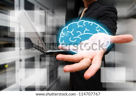 Programmer give the brain in data center room