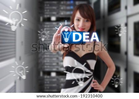 Programmer got idea in data center room - stock photo