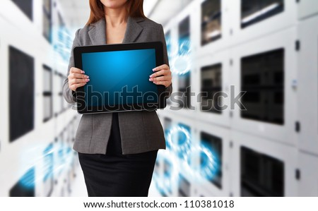 Programmer in data center room and data file system - stock photo