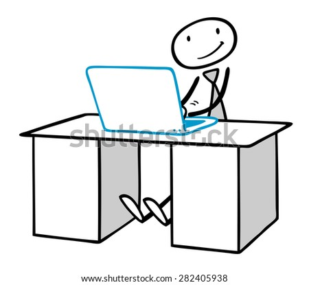 Programmer or blogger working on laptop computer on his desk - stock photo