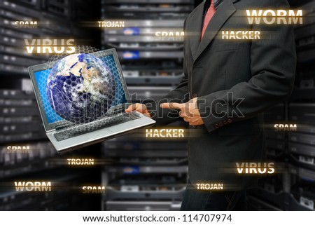 Programmer protect the digital world from all virus and hacker : Elements of this image furnished by NASA - stock photo