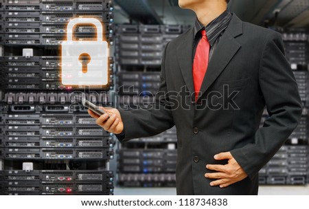Programmer with lock key for protection - stock photo