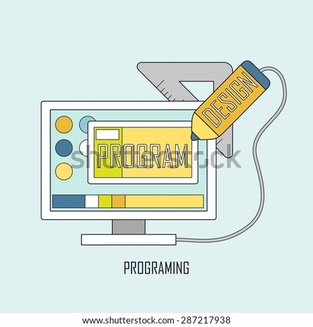 programmer workflow for web coding in thin line style - stock photo