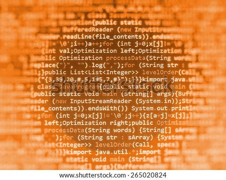 Programming code abstract screen of software developer. Computer script coding source code on desktop monitor. Orange color abstract background. - stock photo