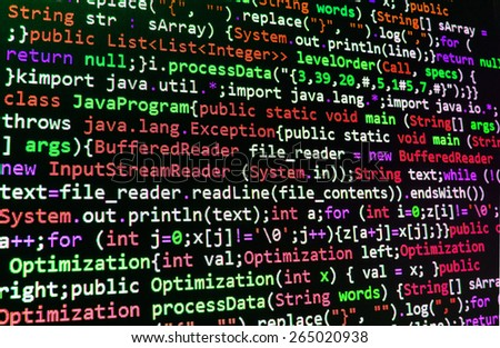 Programming code abstract screen of software developer. Computer script coding source code on desktop monitor. Red, green, black color abstract background. - stock photo