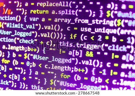 Programming code abstract screen of software developer. Computer script. Purple violet blue pink color. - stock photo