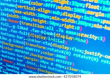 Programming code abstract screen of software developer. Software development. Computer script.  Developer working on websites codes in office. Programmer occupation. Website development.   - stock photo