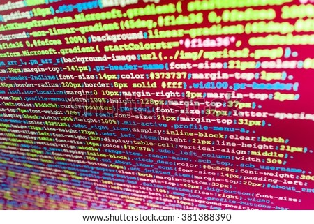 Programming code abstract screen of software developer.  Website codes on computer monitor. (Code is my own property there is no risk of copyright violations)