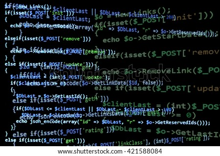 Programming code on black screen, blue text. Abstract software development (source code) - stock photo
