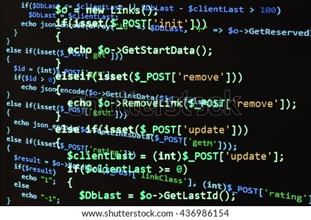 Programming code on black screen, green text. Abstract software development (source code) - stock photo