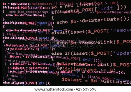 Programming code on black screen, red text. Abstract software development (source code) - stock photo
