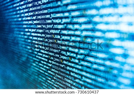 Programming code on computer screen. Writing programming functions on laptop. Coding script text on screen. Software abstract background. Computer program preview. Computer script typing work.